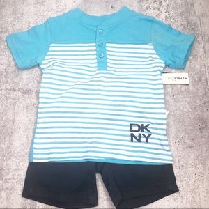 DKNY Infant Boy 2 piece SS Short Set Navy Blue NWT